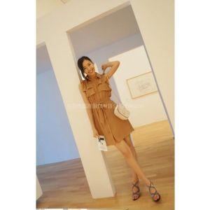 供应淘宝一件代发SZ20900韩版无袖修身荷叶边系蝴蝶节腰连衣裙