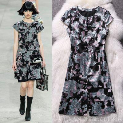 供应2014春夏新款连衣裙 高清印花真丝连衣裙 高端修身连衣裙L4022