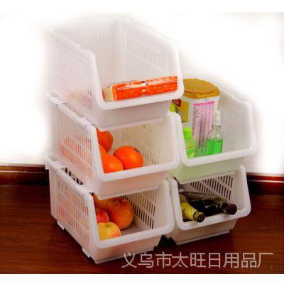 家居用品 日式厨房可叠加收纳筐 厨房置物篮 整理筐 W498G