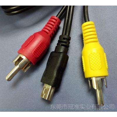 生产mini USB转双莲花头AV音频线厂家