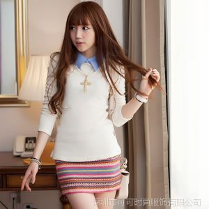 供应COCO 2014春季新款女装甜美长袖针织打底衫T恤秋装修身上衣