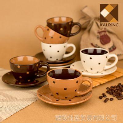 醴陵推荐 创意陶瓷咖啡杯 6杯碟手绘情侣咖啡杯 库存批发
