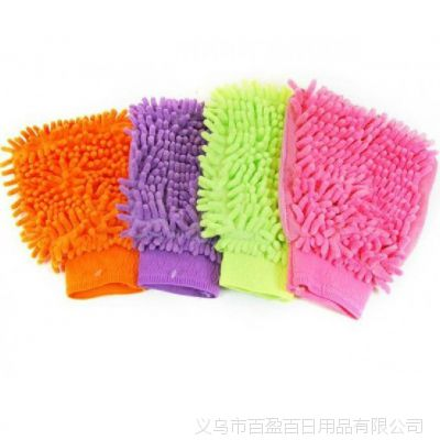 超细纤维雪尼尔洗车擦车手套--双面