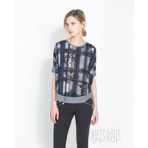 供应MC155 欧美 2014春季大码格子雪纺衫短袖清凉蝙蝠袖套头女T恤