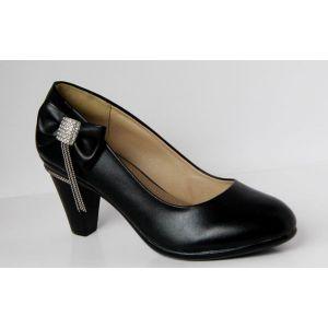 供应德豪正品蝴蝶结带钻浅口粗跟女鞋带垂链