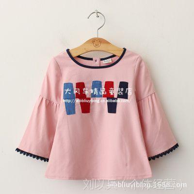 外貿童装 2015春季新款 女童喇叭袖水洗棉麻娃娃衫 女童长袖衬衫