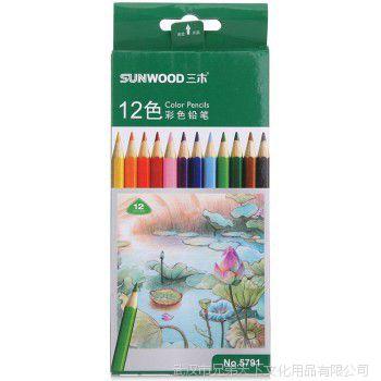 三木 彩色铅笔 12种颜色绘画铅笔 学生涂鸦铅笔 12支一盒装 5791