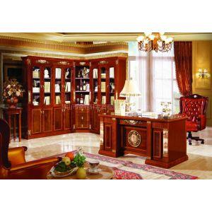 厂家供应高档沙比利民用实木书房家具,欧式书柜,写字台,书台