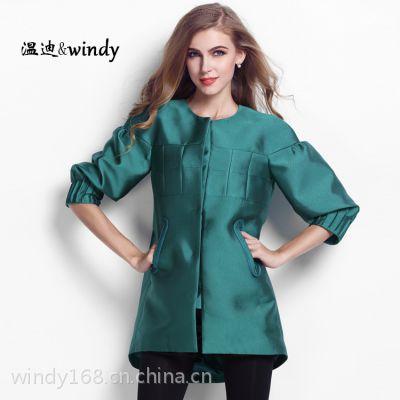 2014秋冬欧美大码品牌女装新款中长款纯色拼接风衣女秋季大衣外套