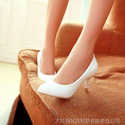 供应春秋季亮皮鞋单跟女鞋子黑尖头高跟细跟职业单鞋漆皮白工作鞋大码
