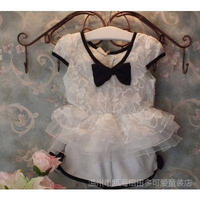 童装2015夏装新款 女童套装 蝴蝶结蕾丝裙摆上衣+短裤两件套