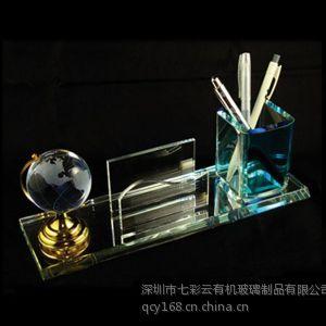 供应广东厂家订做高档有机玻璃(亚克力)笔筒、笔架、笔插 七彩云