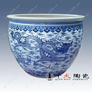 景德镇千火陶瓷手绘青花九龙陶瓷缸开业酒店家居装饰