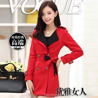 实拍秋季长袖时尚韩版中长款女装 女式风衣秋装外套女士新款