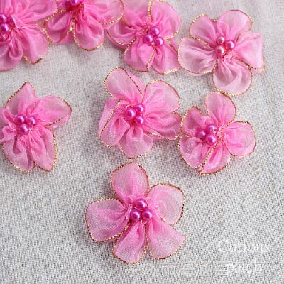 DIY手工花朵服装辅料 紫红色金边珠珠欧根纱小花补丁贴布贴