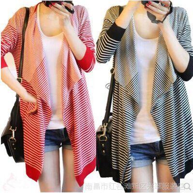 2014新款毛衣外套针织开衫韩版少女装 中长款针织衫春秋潮