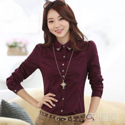 2014新款韩版职业ol气质翻领显瘦上衣衬衫修身长袖女士衬衣3205