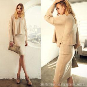 供应2013秋冬新款女装韩国chichera修身显瘦针织打底连衣裙两件套
