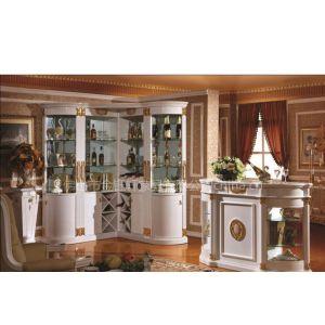 工厂供应欧式古典白色亮光油漆转角酒柜,高档吧台