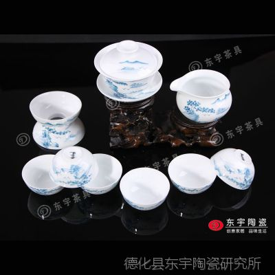 德化手绘茶具套装 礼品茶具 纯手工陶瓷茶具 功夫茶具 陶瓷批发