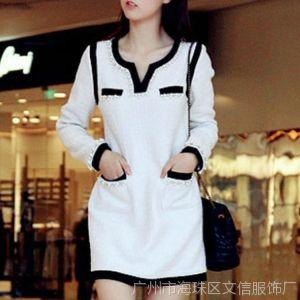 供应2014秋冬新款韩版女装 小香风奢华钉珠撞色口袋修身连衣裙G060
