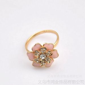 供应精美现货 镶彩钻 时尚花朵戒指饰品 电镀真金 速卖通 ebay热卖