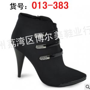 供应广州批发正品进口沙丁贵妇中筒靴子 尽享优雅酒杯跟加水钻女靴