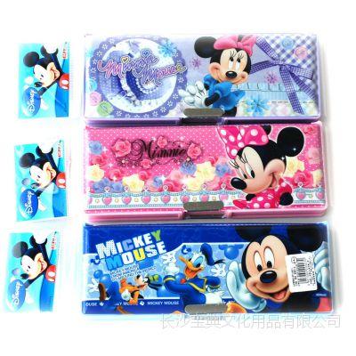 联众【正品批发】迪士尼文具盒米奇塑料多功能文具盒DM0907铅笔盒