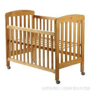 好孩子婴儿床 童床 多功能环保实木可调节滚轮游戏床 棕色MC700A