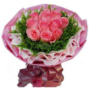 供应深圳鲜花速递罗湖福田花店南山蛇口宝安西乡订花情人节11朵粉玫瑰