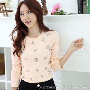 供应2013秋装新款韩版女装纯色 长袖 淑女款修身打底衫