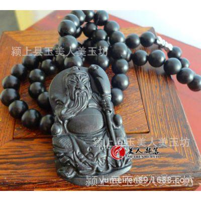 正品天然泗滨砭石项链关公吊坠项链圆珠项链男女款时尚霸气送礼物