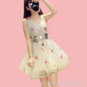 供应2014春夏新款周迅同款欧根纱碎花高端气质女装刺绣蓬蓬裙连衣裙