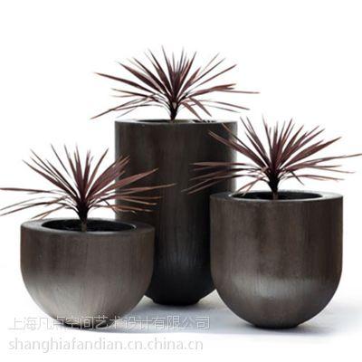 供应田园多肉花盆 植物圆形玻璃钢花盆
