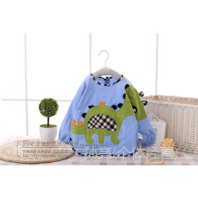 阿喜和悦 小恐龙儿童罩衣反穿衣细灯芯绒防水罩衫宝宝饭衣 666