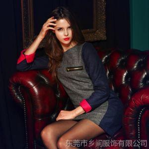 供应2013新款OL修身打底百搭长袖包臀大码毛呢裙子欧美连衣裙