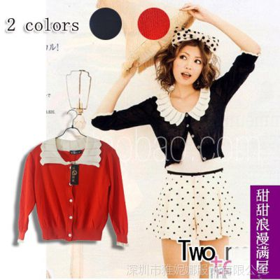 2013秋冬装 新款女装韩版37478可爱花边领中袖短装开衫毛衣小外套