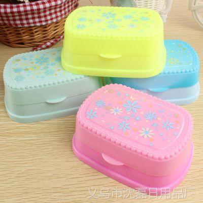 2014新款创意印花生活用品塑料盒椭圆肥皂盒圆空沥水香皂盒 批发
