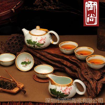 礼品茶具 景德镇手绘功夫陶瓷茶具套装 可印LOGO 厂家批发特价