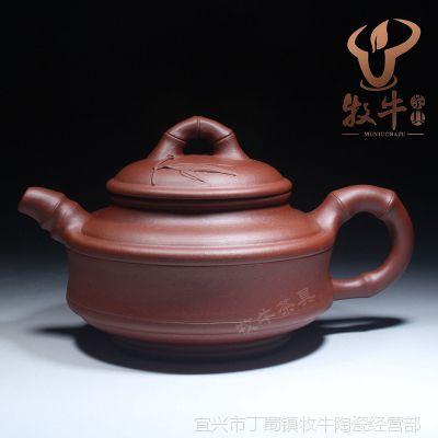 双线竹段壶350毫升 宜兴紫砂茶具茶壶 厂家直销礼品定制全店混批