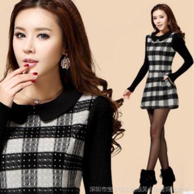 2014新款韩版大码修身A字短裙打底裙格子羊毛呢长袖连衣裙