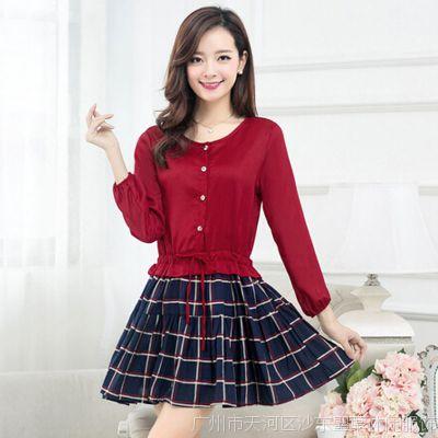 韩国东大门 秋冬季新款女装长袖收腰连衣裙 品牌代销 淘宝网代理