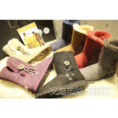 代发2014新款雪地靴女靴冬季真皮平底扣子装饰中筒靴厚底加绒棉靴