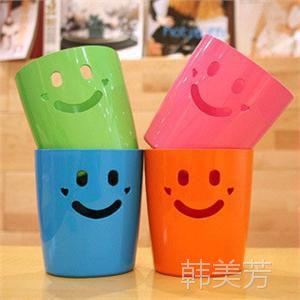 桌面收纳桶 笑脸垃圾桶 微笑杂物桶