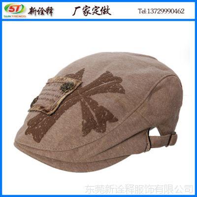 冬天新款帽子女士冬帽 时尚十字架胶印贝雷帽 字母贴布绣花前进帽