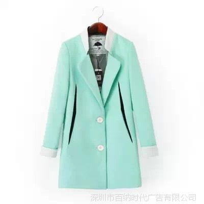 拉夏贝尔 新款中长款大衣毛呢外套女20005312 一件代发