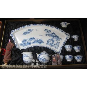供应青花山水花卉茶具,青花瓷茶具,鑫腾陶瓷