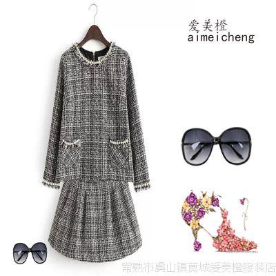 小香风套装秋冬款女名媛风毛呢外套搭配修身短裙子套装D10-24501