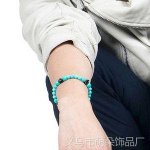 供应EXO吴世勋 Bigbang权志龙GD绿松石湖蓝色玛瑙球配饰小骷髅手链