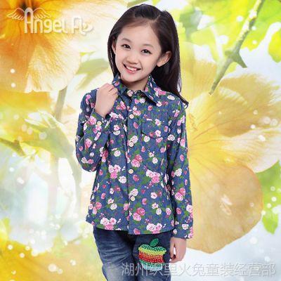 2014秋款新品儿童衬衫 中小童女童长袖衬衫 秋季牛仔碎花衬衣